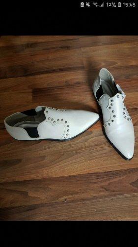 Tolle Diesel Slipper Cowboy Stiefeletten Gr. 39 Nieten Schuhe Mannish Dannish weiß grau silber