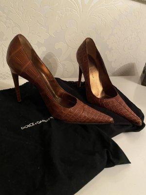 Tolle  Dolce&Gabbana Kroko Leder spitz Pumps rot-braun Gr 38