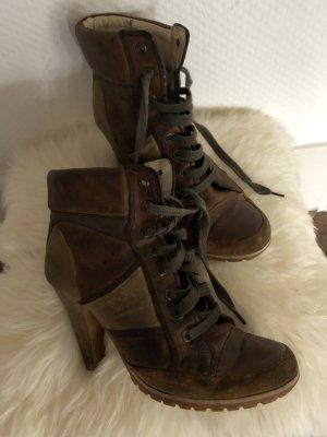 unknown Bottines à lacets marron clair-brun sable cuir