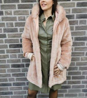 jakke Płaszcz ze sztucznym futrem beżowy-kremowy
