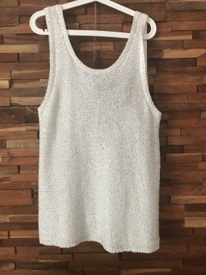River Island Top a uncinetto bianco-argento