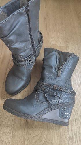 Mustang Shoes Bottine à talon compensé gris