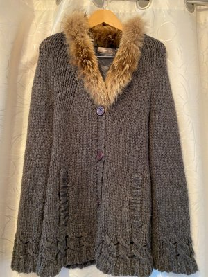 Hallhuber Coarse Knitted Jacket grey mohair