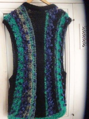 Short Sleeve Knitted Jacket multicolored angora wool