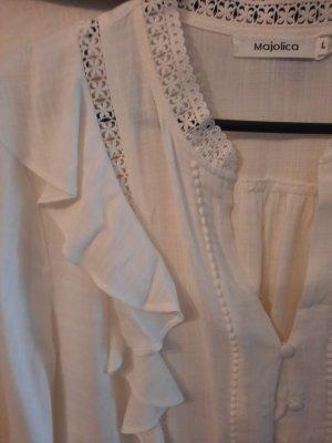 majolica Bluzka z falbankami w kolorze białej wełny