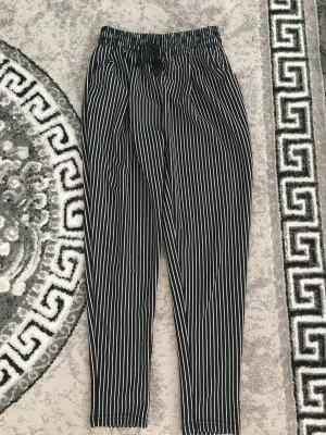 100% Fashion Pantalon en jersey noir-blanc