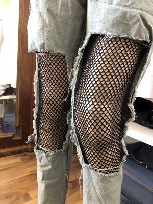Lage taille broek groen-grijs