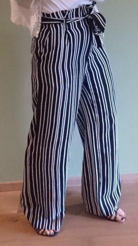 H&M Pantalone Marlene nero-bianco Poliestere