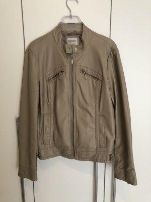 Esprit Veste en cuir synthétique gris brun-beige