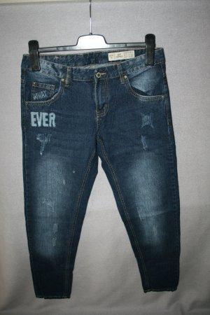 tolle Jeans Boyfriend von esmara Gr. 36 dark blue mit Druck