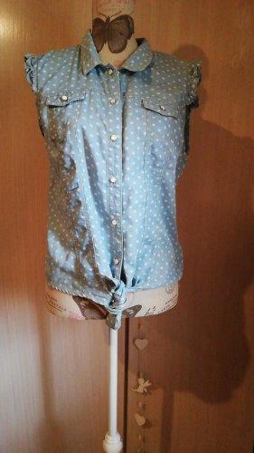 Ann Christine Blouse en jean blanc-bleu clair