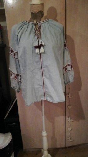 Tolle Jeansbluse Tunika Stickerei Khujo Gr. 42