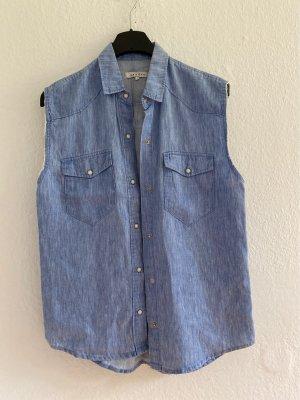 Sandro Gilet en jean bleu azur lin