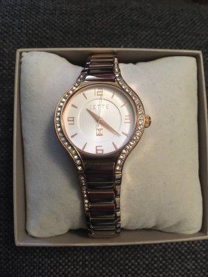 Jette Joop Horloge met metalen riempje roségoud-wit
