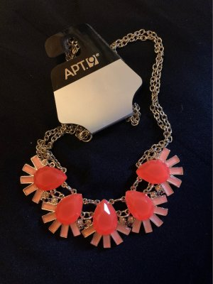 APT.9 Collier orange fluo-doré