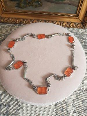 Naszyjnik srebrny-pomarańczowy