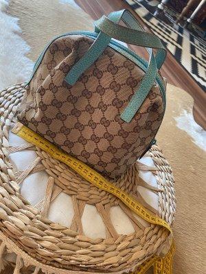 Tolle Kleine Gucci Tasche Handtasche braun mit Türkisem Leder
