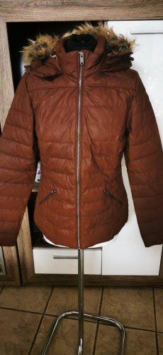Veste en cuir synthétique brun-cognac