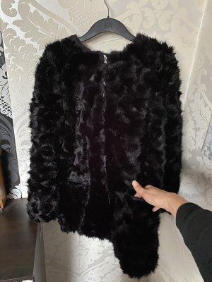 Tolle Kuschel Teddy Fell  Mantel Jacke schwarz neu Gr L Np 69,95€