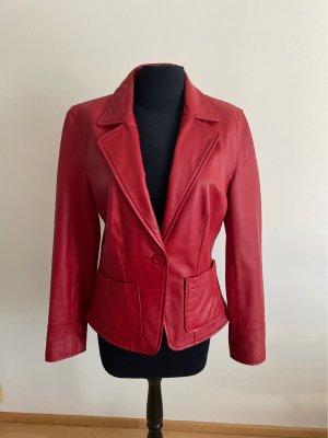Arma Women Veste en cuir rouge foncé