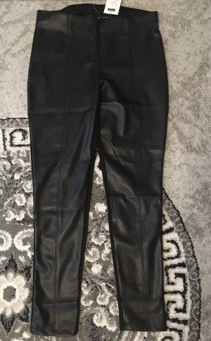 100% Fashion Pantalón de cuero negro