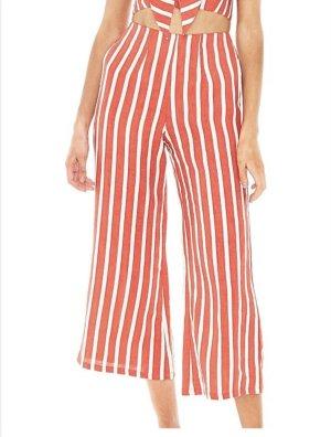 Faithfull the brand Pantalone di lino bianco-rosso mattone Lino