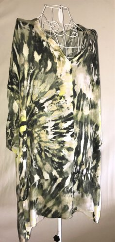Hallhuber Camicetta lunga grigio-verde-bianco sporco Viscosa