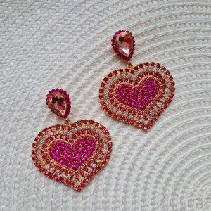 tolle luxus Herzen Ohrhänger mit roten Steinen funkeln extrem