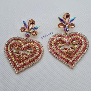 """tolle Luxus Statement Ohrringe """"rosa Herzen"""" mit funkelnden Steinchen"""
