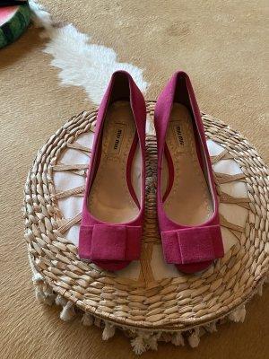 Tolle Miu Miu Leder Schuhe Pink mit Schleife 38