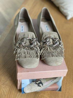 Miu Miu Zapatos sin cordones beige claro Cuero