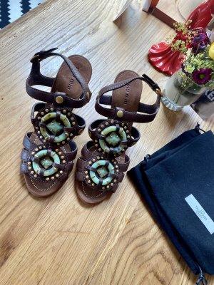 Tolle MIU MIU Sommer Sandalen aus Leder mit Türkisen Steinen Gr 38