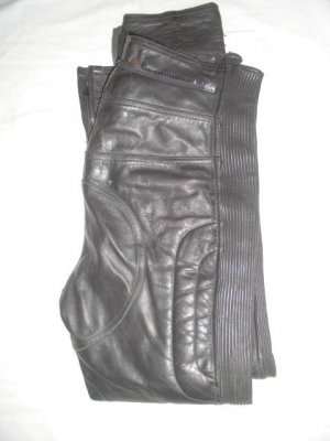AJC Pantalon en cuir noir cuir