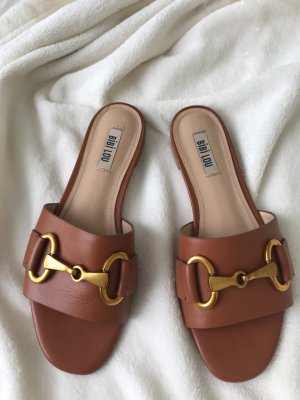 Tolle Mules: fersenlose flache Schuhe Damen braun Glattleder