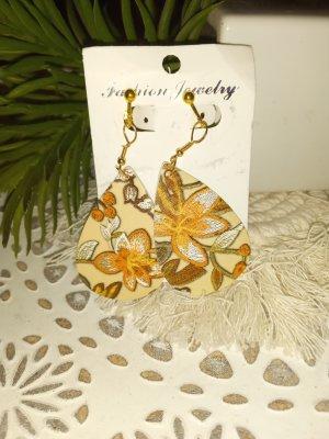 Pendientes de clip marrón claro-naranja dorado