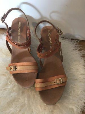 Platform High-Heeled Sandal orange-brown leather