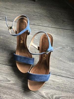Unisa Sandalias de tacón de tiras azul acero-marrón claro Cuero
