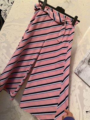 Tolle rosa gestreifte Bershka Culotte Hose mit Bindegürtel  Gr L