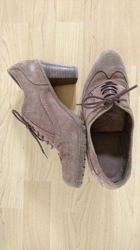 5 th Avenue Escarpins à lacets gris brun-marron clair cuir