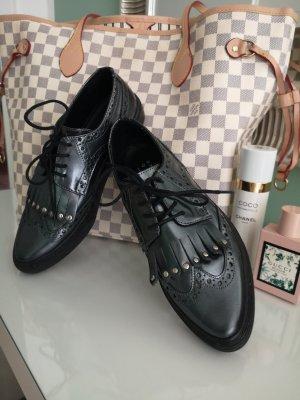 Another A Sznurowane buty czarny Skóra