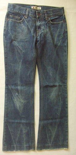 Tolle, seltene Vintage Hüft-JEANS von FORNARINA mit toller,leicht grünlicher Waschung..used/destroyed, bootcut..Größe W28, DE 36