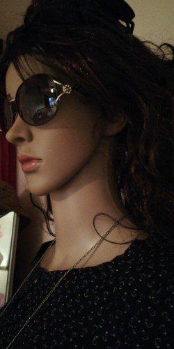 Tolle Sonnen Brille schwarz mit Blume Neu