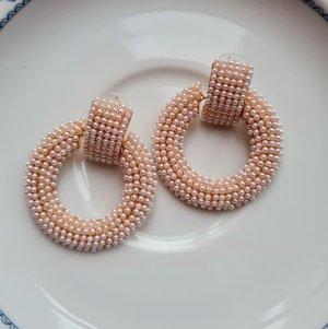 tolle Statement Ohrringe mit kleinen Kunstperlen goldfarben