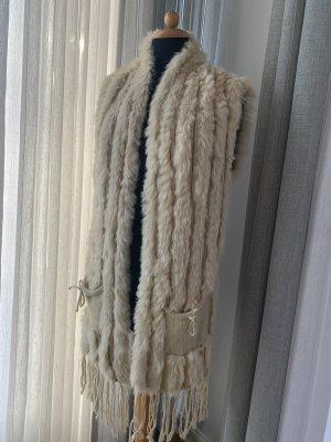 SAKI Sweden Smanicato di pelliccia bianco sporco