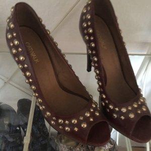 100% Fashion Zapatos estilo Oxford burdeos-color oro