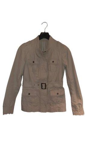 Tolle Übergangsjacke, Baumwolljacke, beige mit Bindegürtel, Größe 38