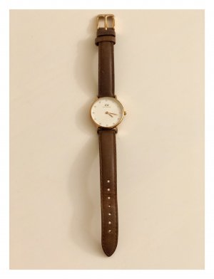 Daniel Wellington Watch With Leather Strap brown-gold-colored