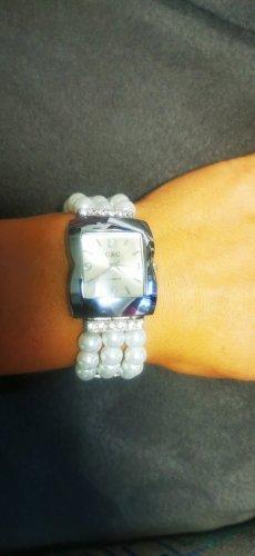 Reloj analógico blanco-color plata