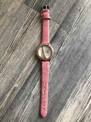 Tolle Uhr rosa mit Eiffelturm Design Neu