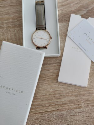 ROSEFIELD Watch With Leather Strap light grey-rose-gold-coloured leather